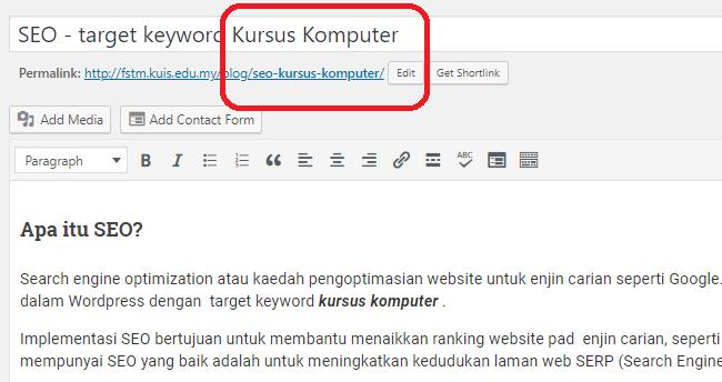 Contoh tajuk posting yang mengandungi target keyword kursus komputer