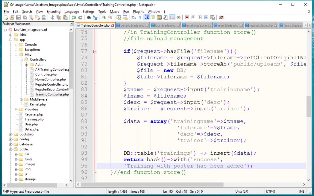 Fungsi store() dalam TrainingController untuk simpan fail imej dimuat-naik