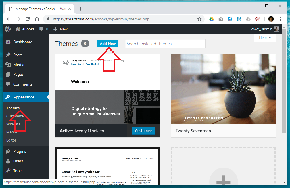 Appearance themes - add new wordpress theme