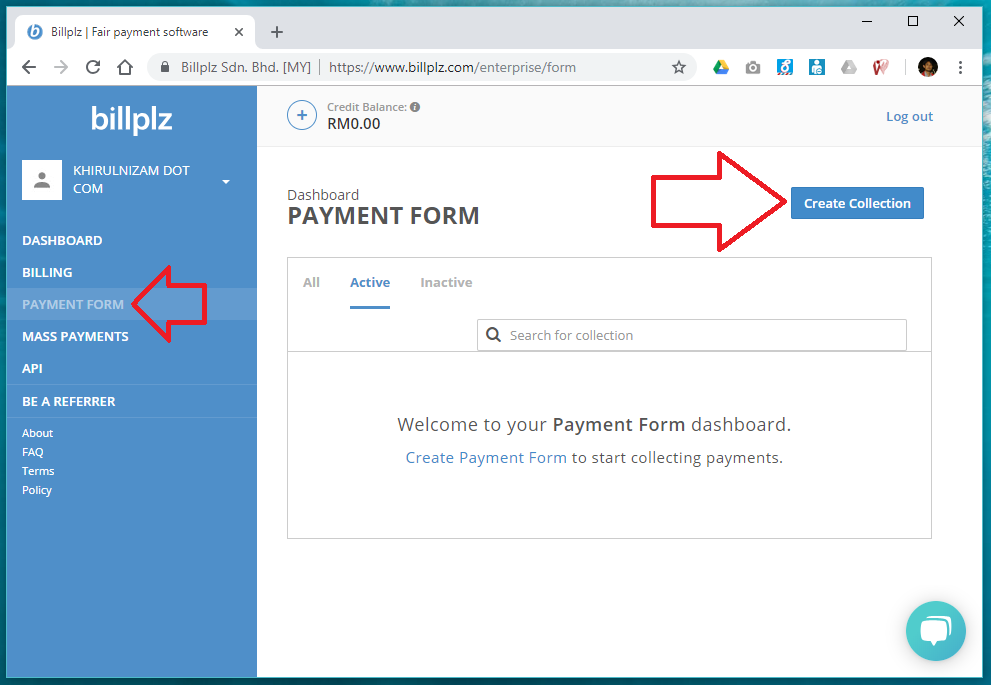 Create a new collection in BillPlz form payment
