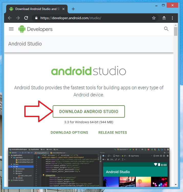 Download Android Studio from developer.android