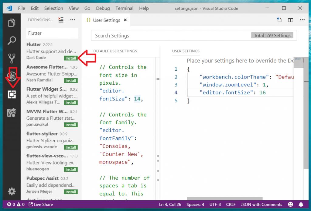 Flutter on VSCode add Flutter-Dart plugins