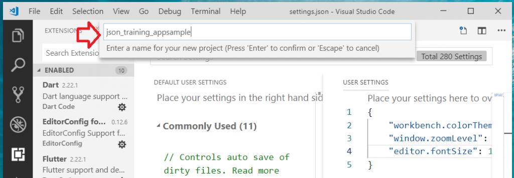Flutter on VSCode add new Flutter project name