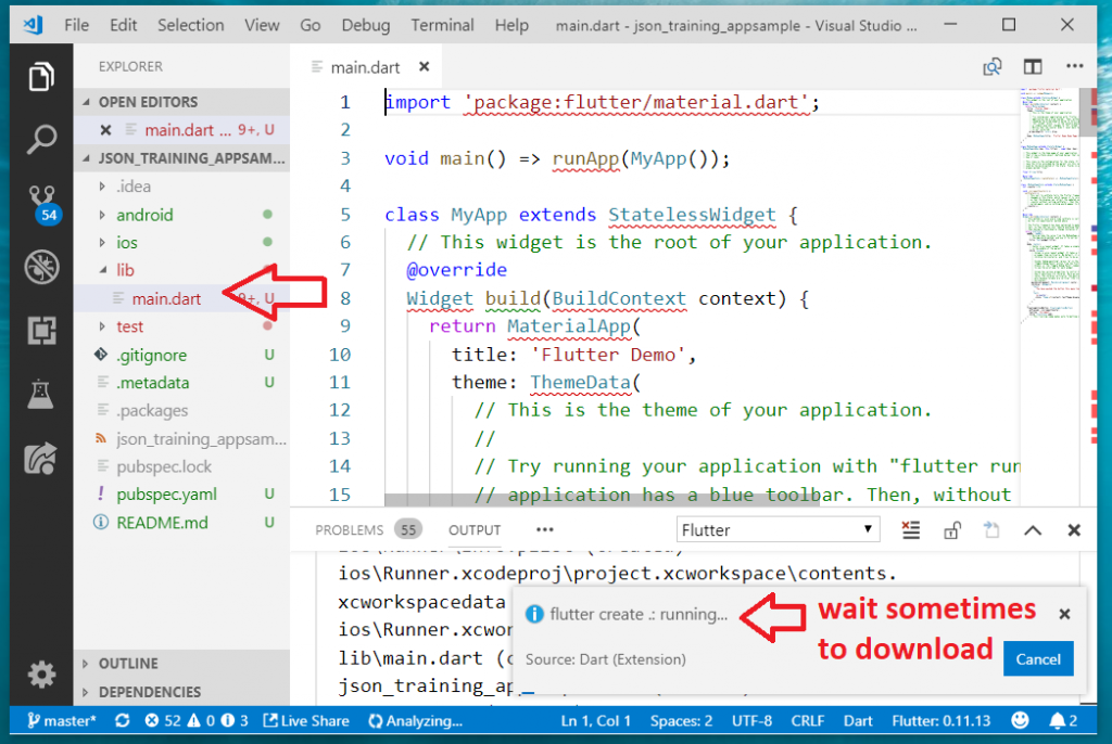 Flutter project downloading - MAIN-DART to start
