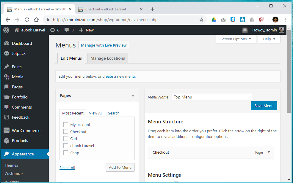 Wordpress menu settings