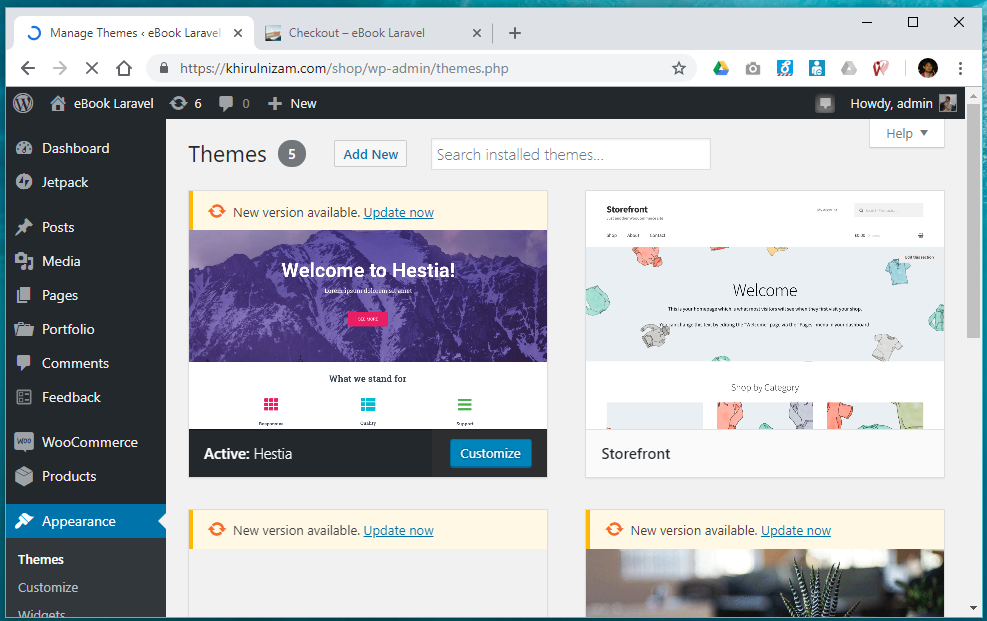 Wordpress themes settings