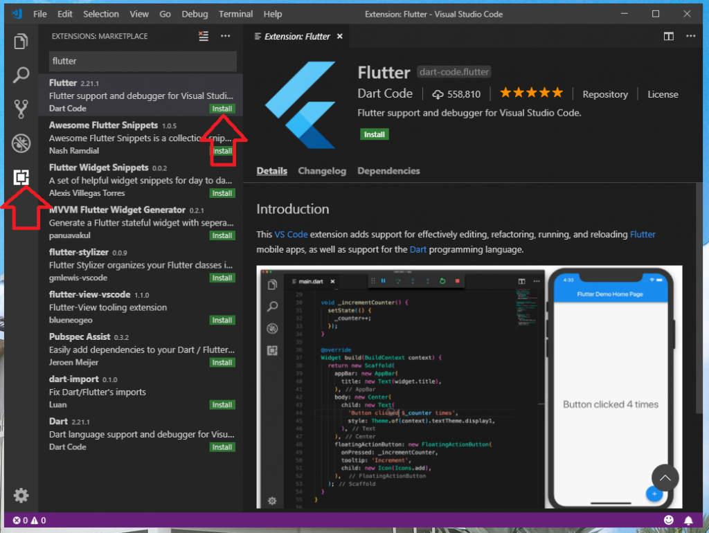 Flutter Visual Studio Code plugins