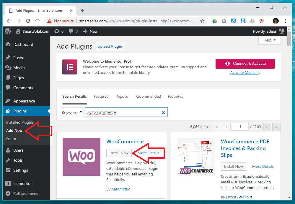 Installing plugins WooCommerce in WordPress