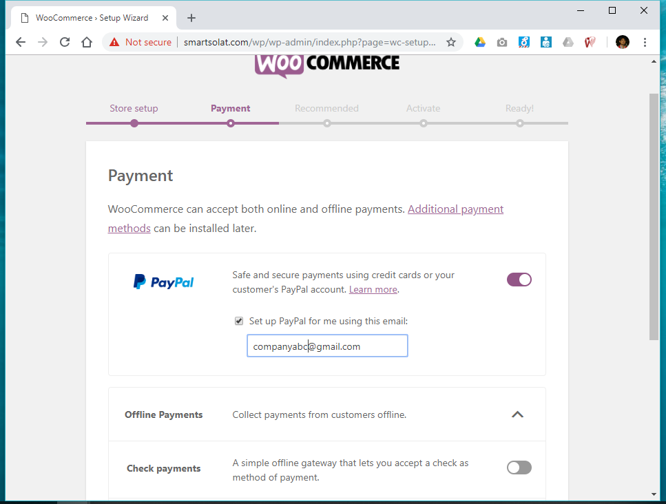Woocommerce paypal account