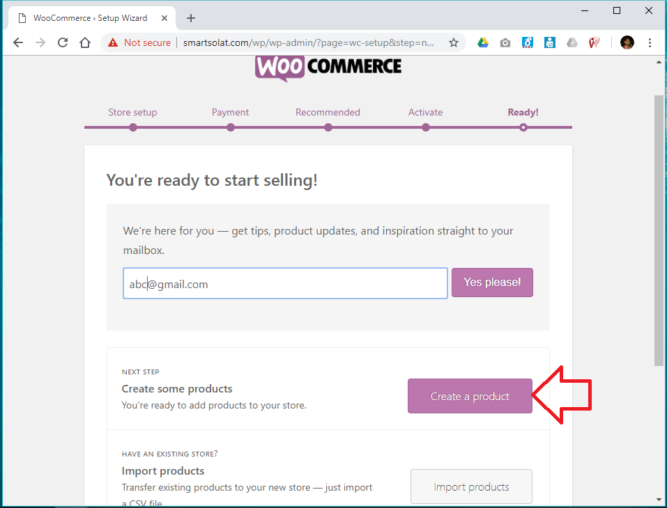Woocommerce start creating product