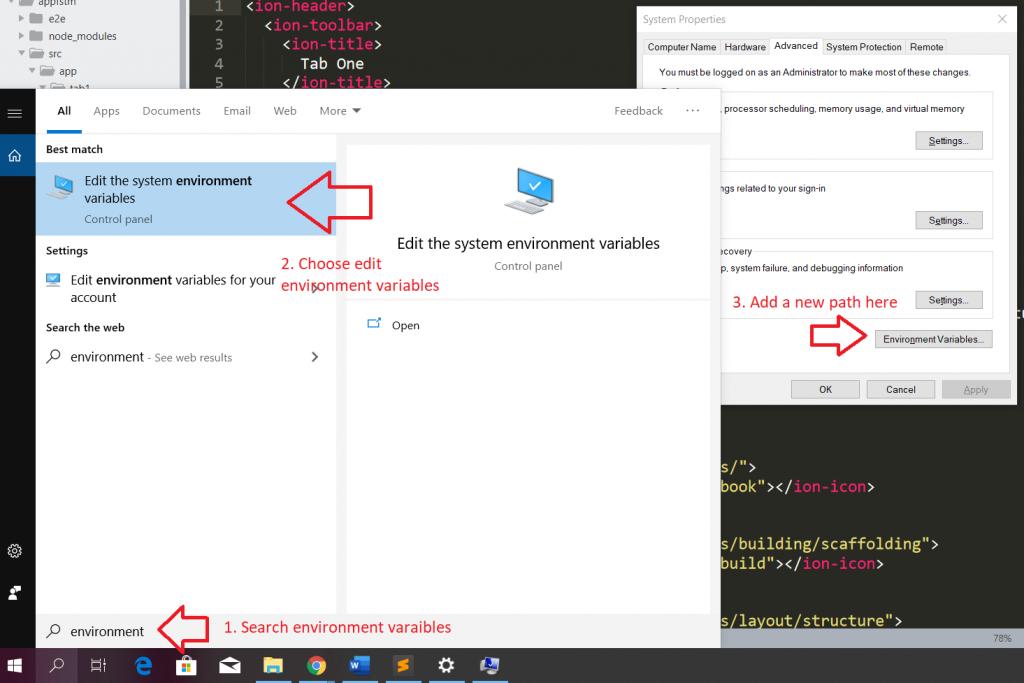 Edit enviroment variables Windows10