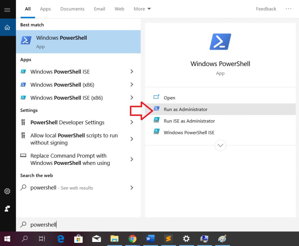 Windows10 guna powershell untuk install ionic