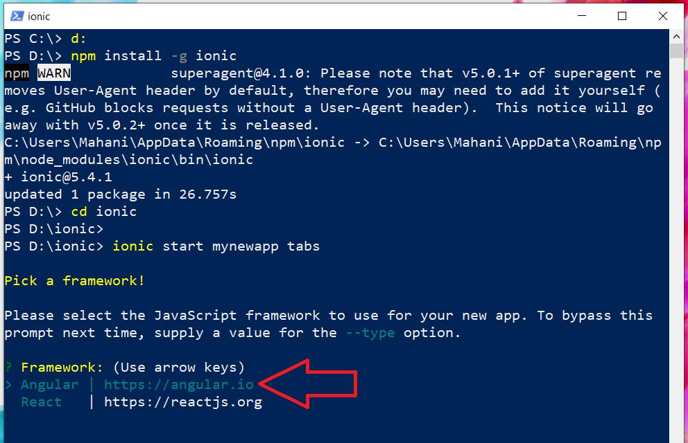 Ionic start mynewapp choose Angular JavaScript framework
