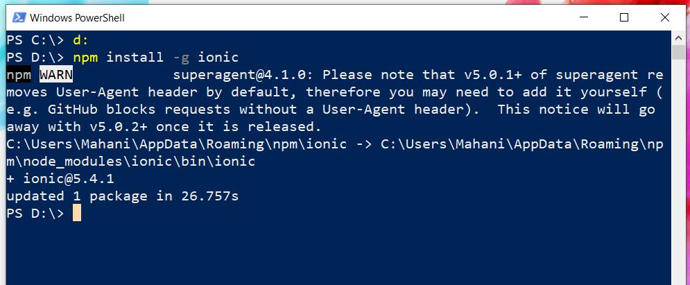 npm install ionic